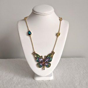 NWT Betsey Johnson Gold Crystal Butterfly Necklace